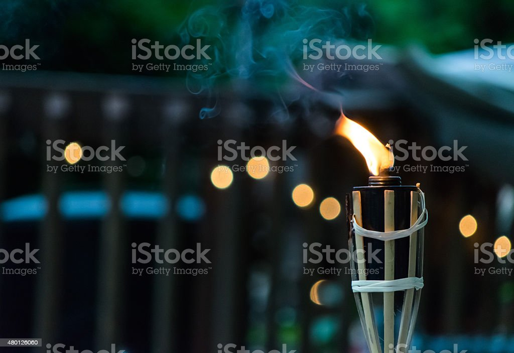 Close up of a Lit Torch stock photo