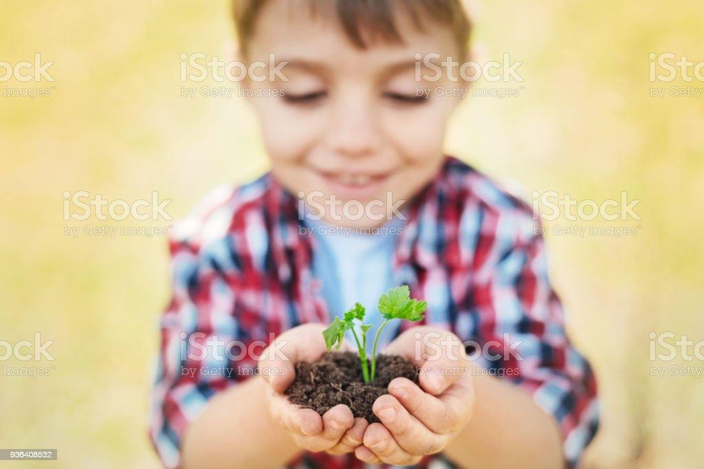 Nahaufnahme eines kleinen Jungen halten Handvoll Erde – Foto