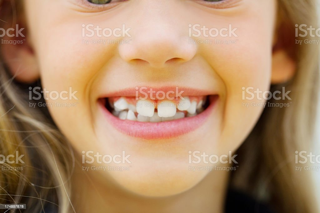 Close up of a little girls mouth stock photo