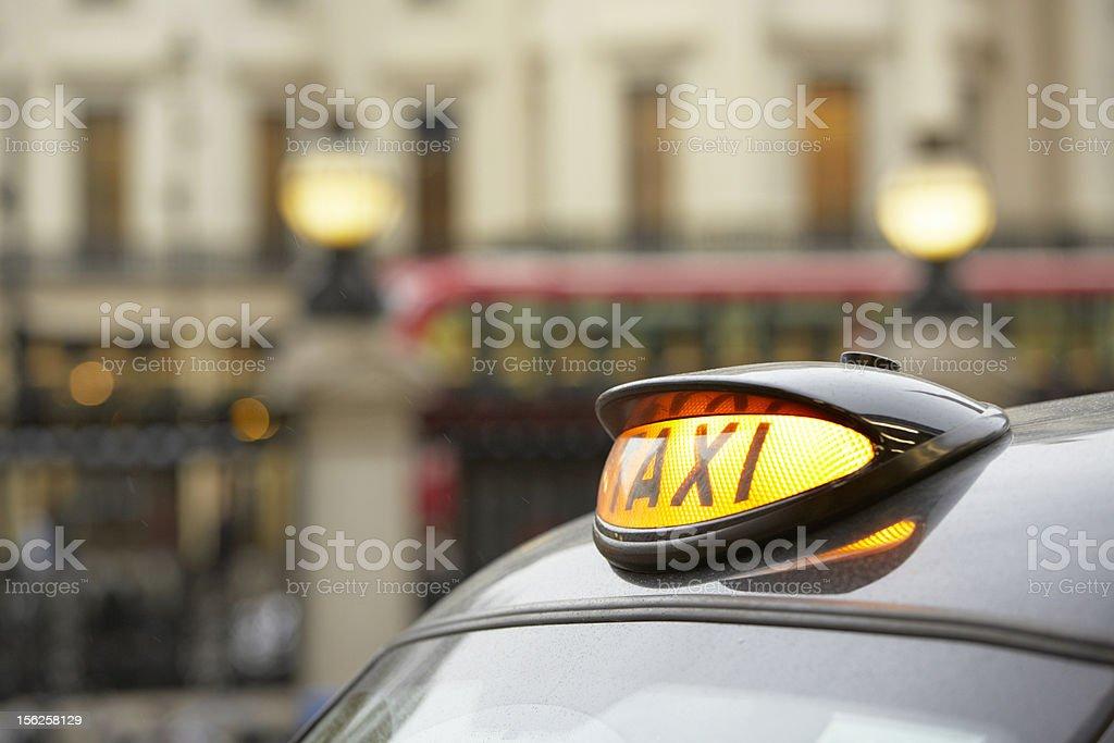 Close up of a London black cab light  stock photo