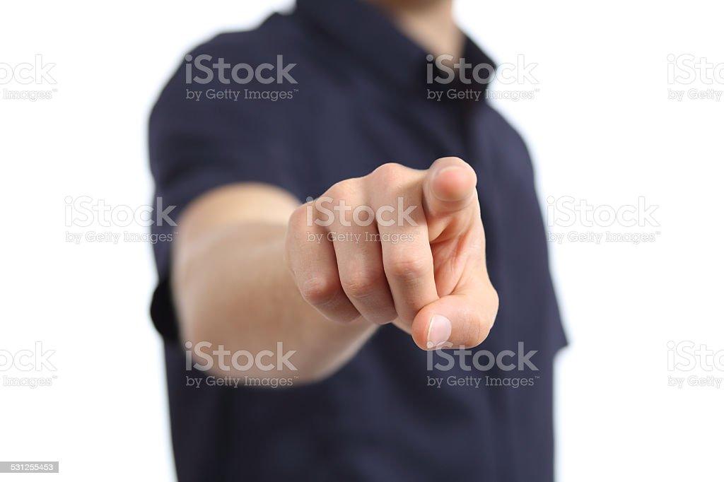 Close up of a man hand pointing at camera stock photo