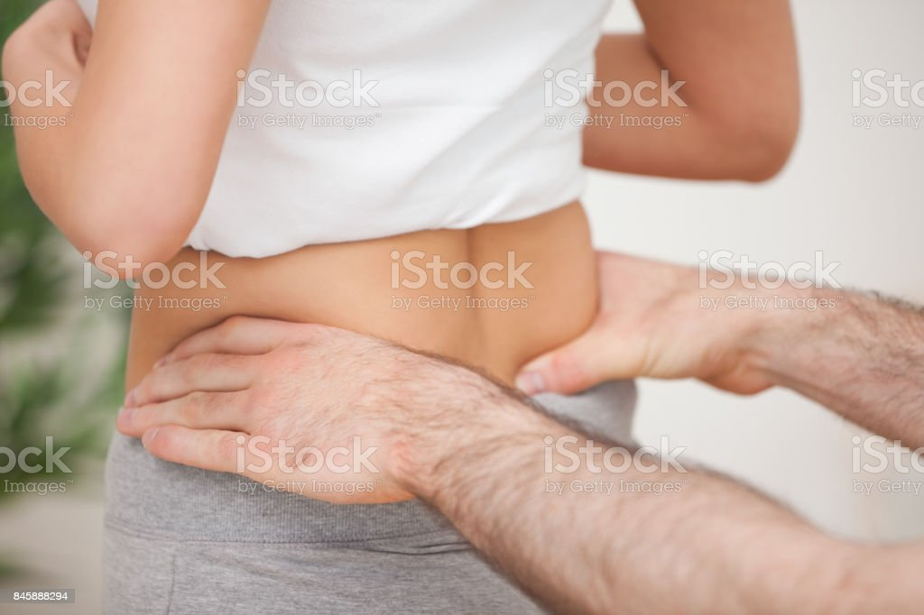 Close up of a man touching the hips of a woman stock photo