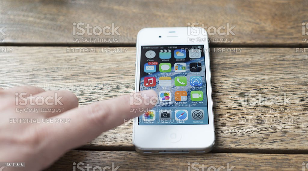 Close Up Of A Man Using Mobile Smart Phone royalty-free stock photo