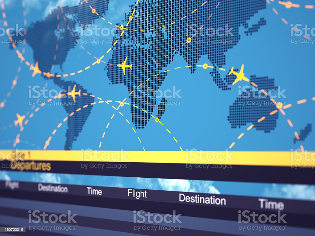 Close up of a map showing air traffic and schedules royalty-free stock photo