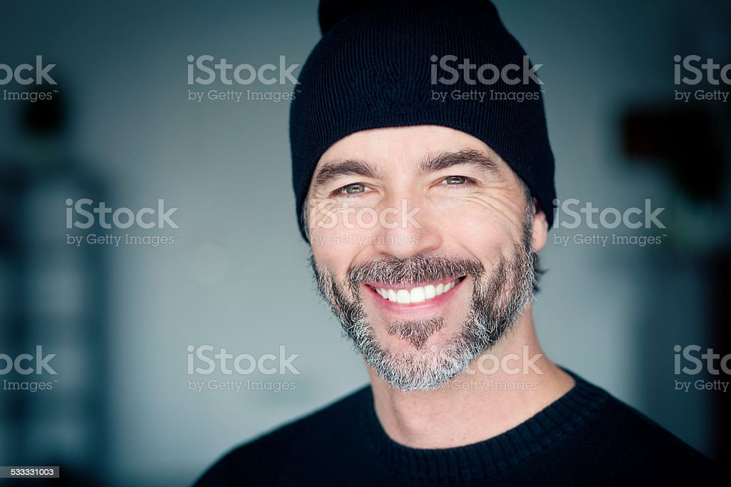 Close Up Of A Mature Man Wearing A Toque stock photo
