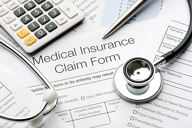 Close up of a medical insurance form stock photo