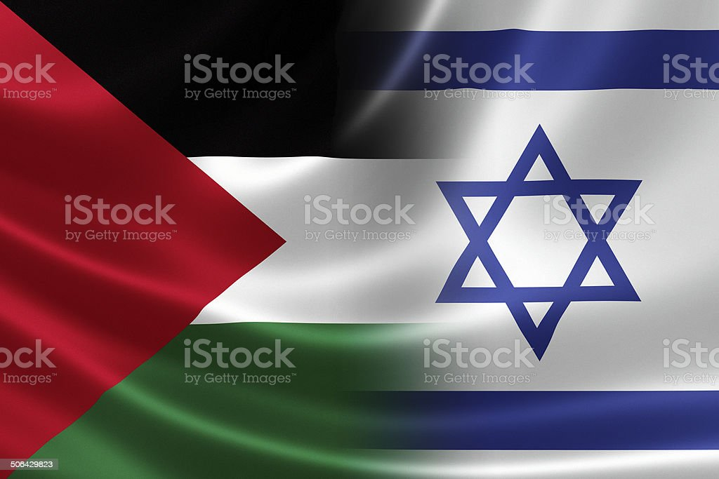 Close Up of a Merged Israeli-Palestinian Flag stock photo
