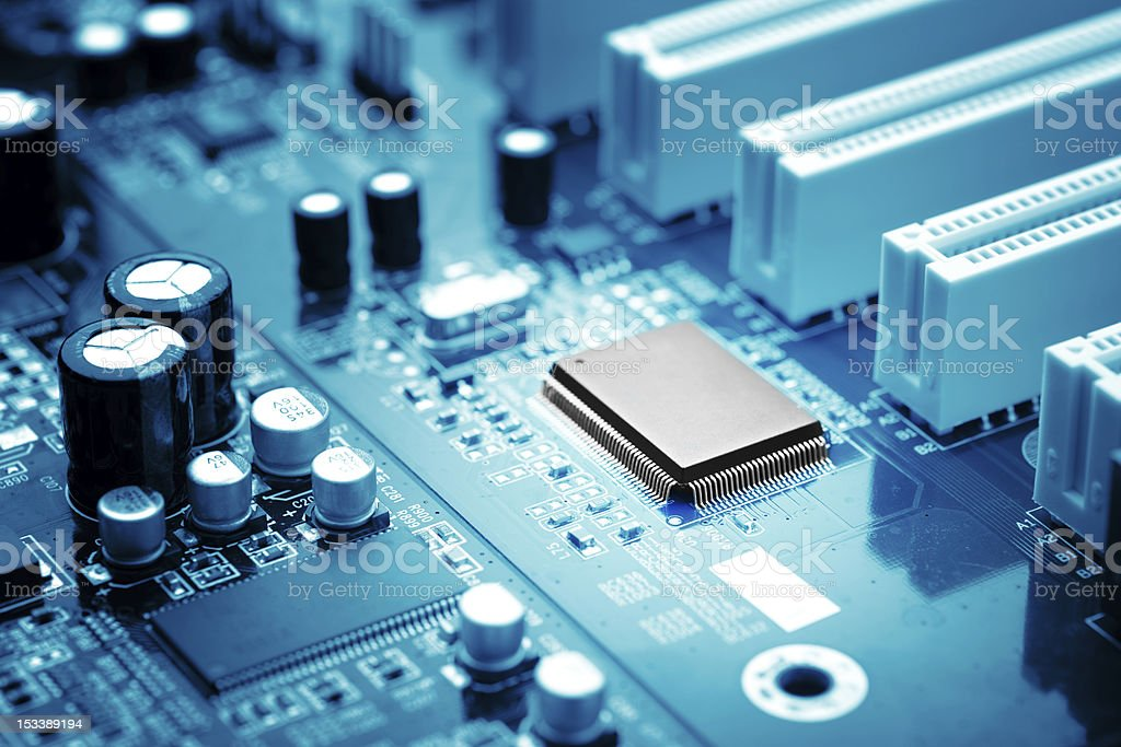 A close up of a microchip with the mainframe computer royalty-free stock photo