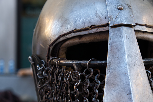 A close up of a middleage helmet
