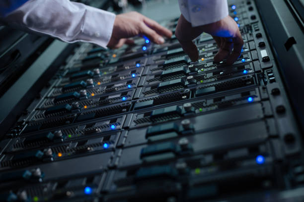close up of a network server in the data center - network server stock pictures, royalty-free photos & images