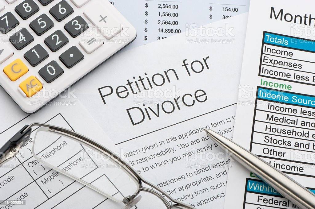 Close up of a petition for divorce royalty-free stock photo