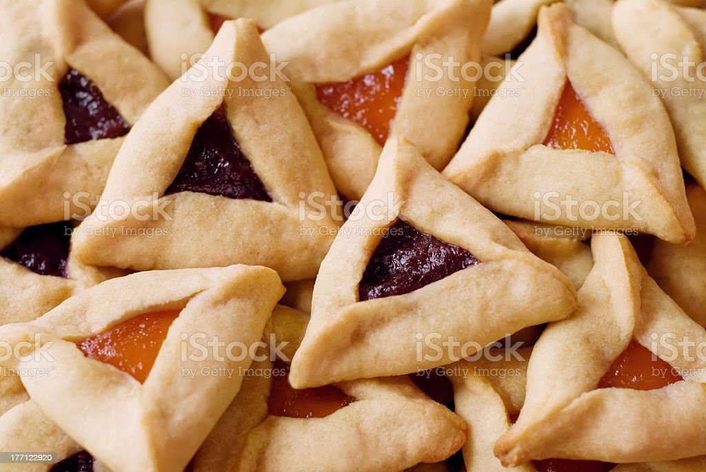 Close up of a pile of Hamantaschen Cookies stock photo