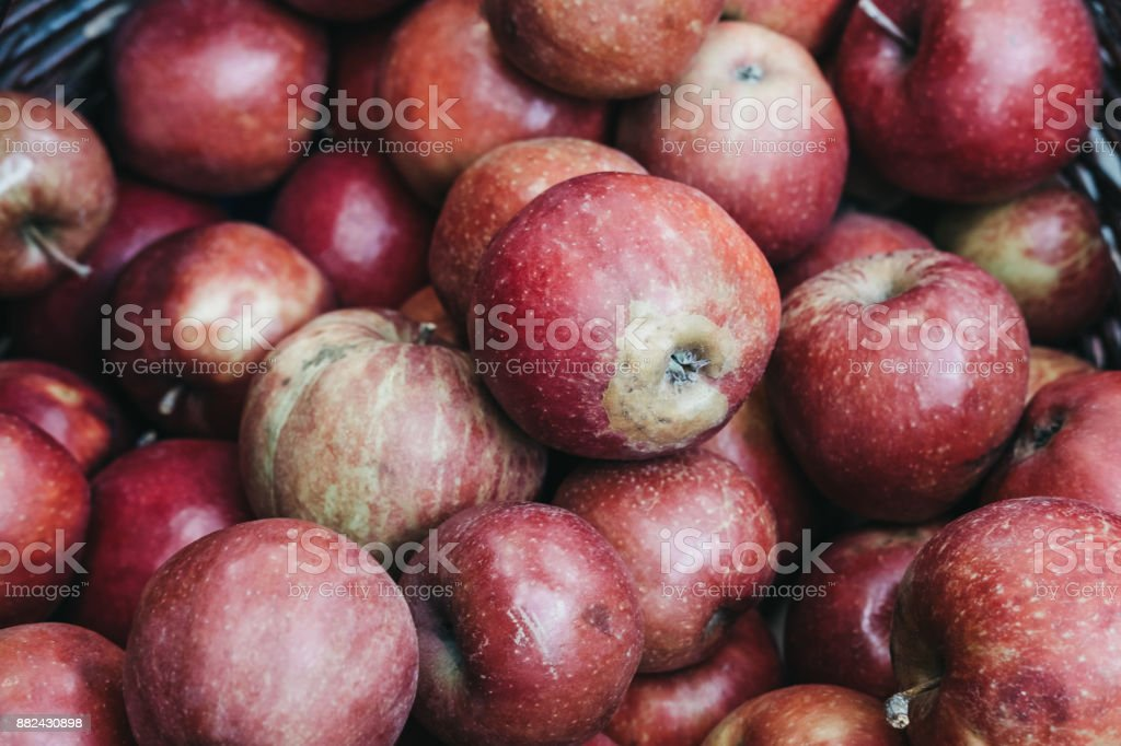 Close up of a pile of red apples stock photo