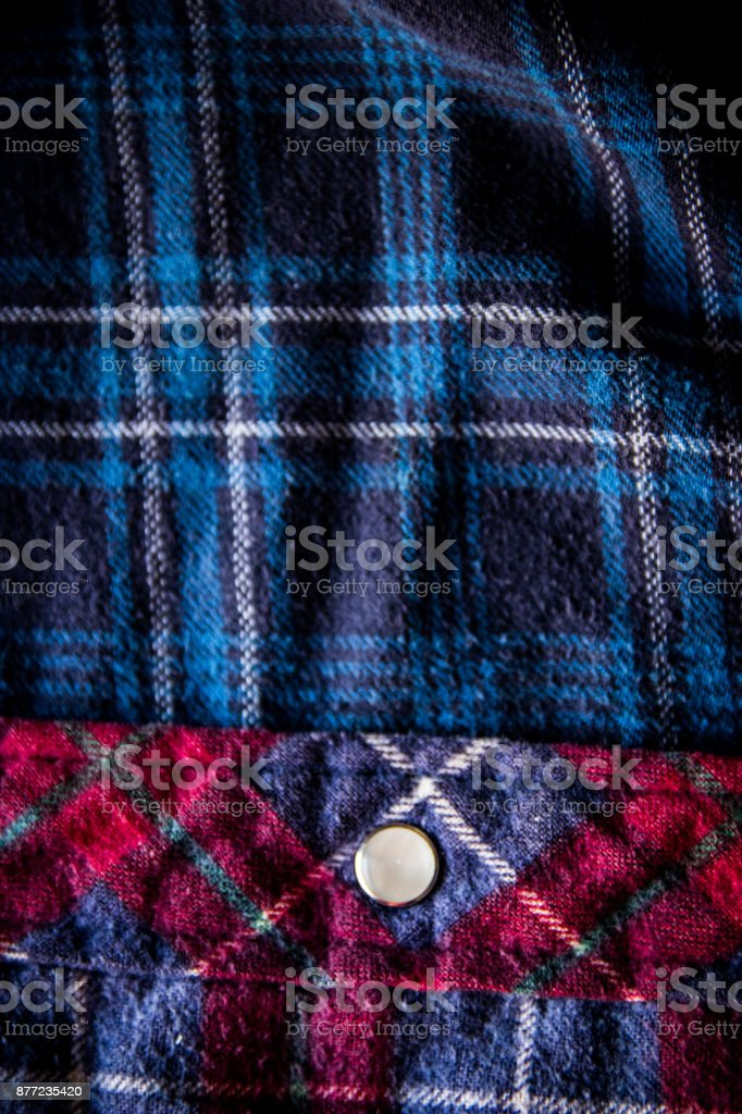 Close up of a plaid shirt stock photo