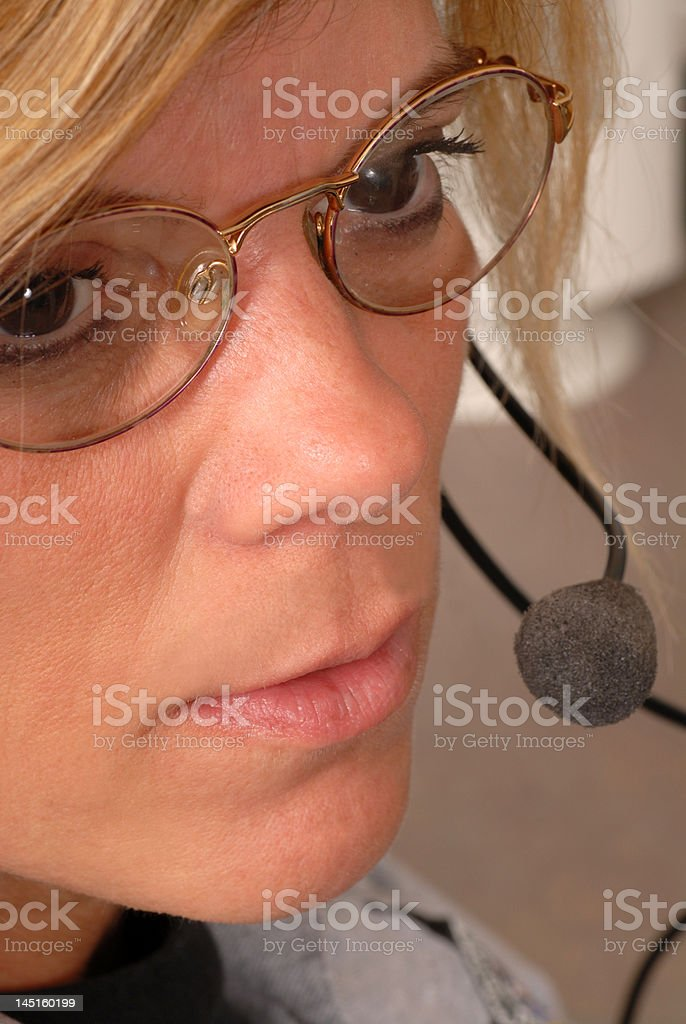 Close up of a police dispatcher's face stock photo