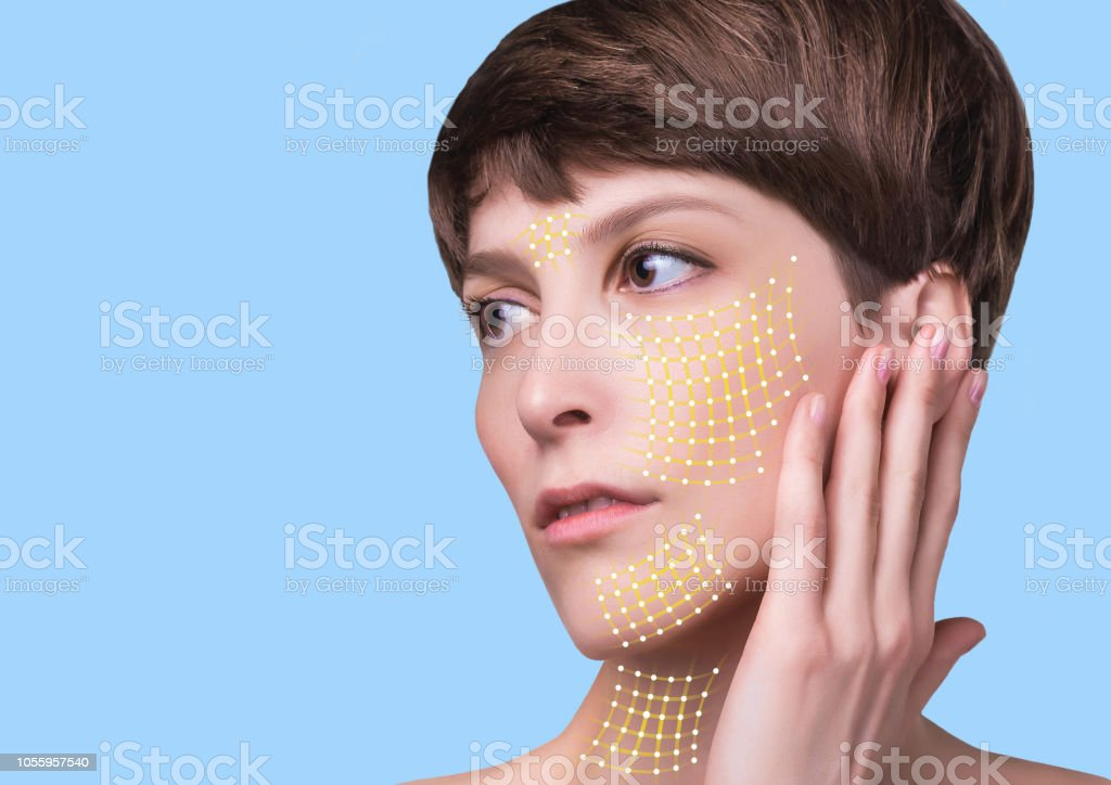Close up of a portrait of a beautiful woman who wants to lift face to...