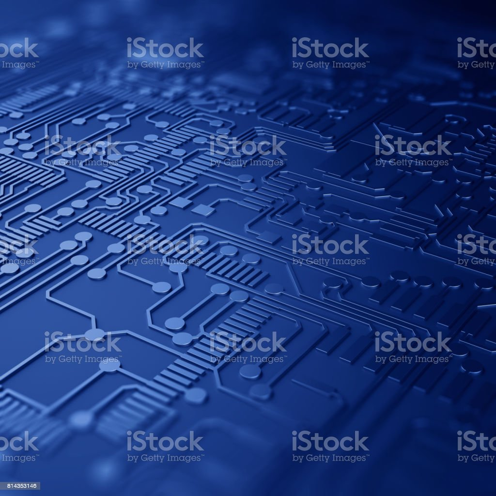 Close up of a printed blue computer circuit board with depth of field. stock photo