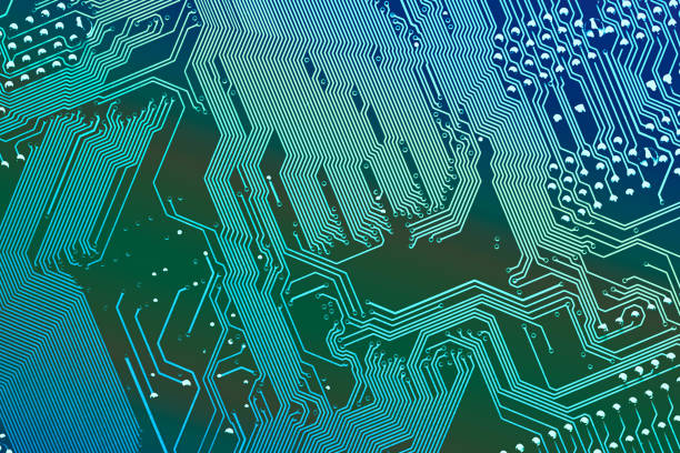 Close up of a printed computer circuit board. Vertical stripes. stock photo