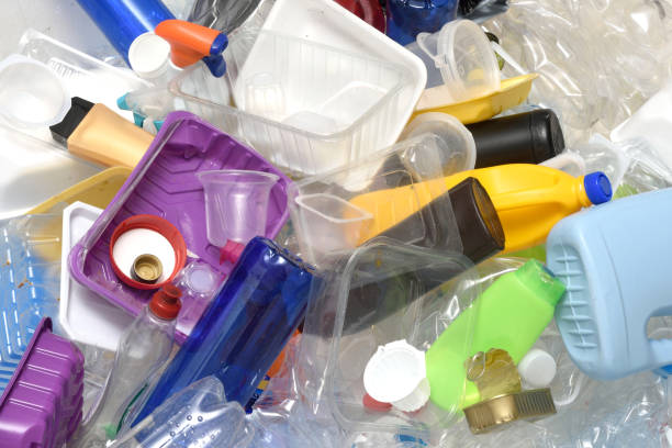 close up of a Recycling plastic stock photo