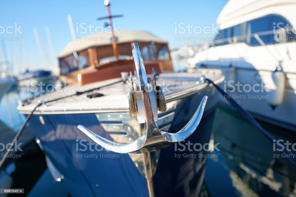 Close up of a retro yacht anchor stock photo