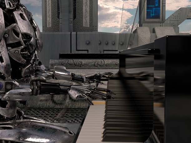 Close up of a robot playing a piano keyboard stock photo