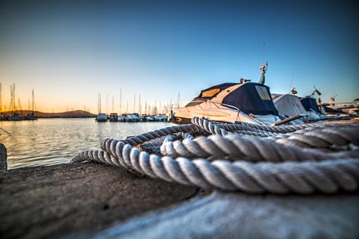 close up of a rope in Alghero harbor, Sardinia