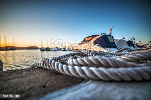 close up of a rope in Alghero harbor, Sardinia