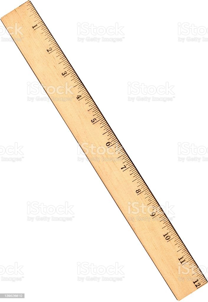 Close up of a ruler against white background stock photo