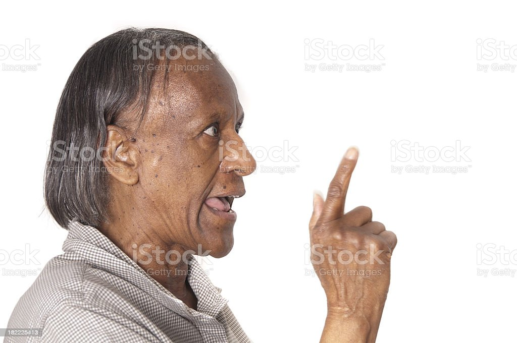 Close up of a Senior woman pointing and laughing royalty-free stock photo