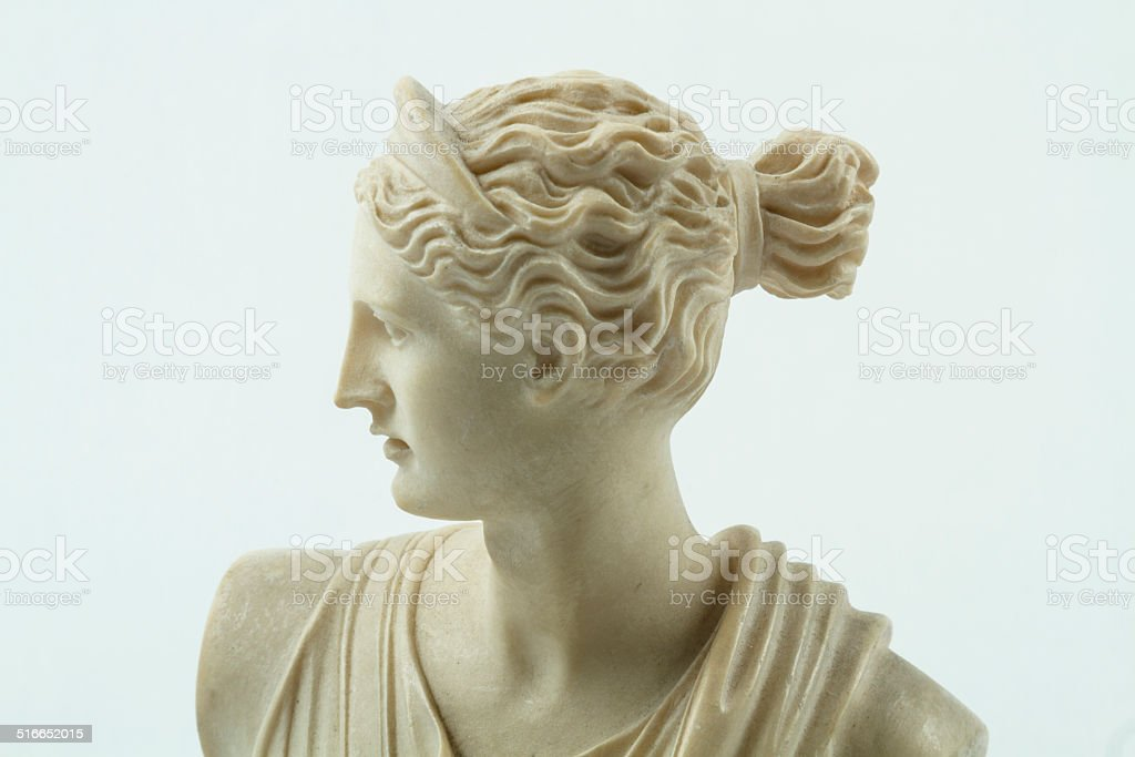 Close Up Of A Small Statue Of Diana, Roman Goddess stock photo