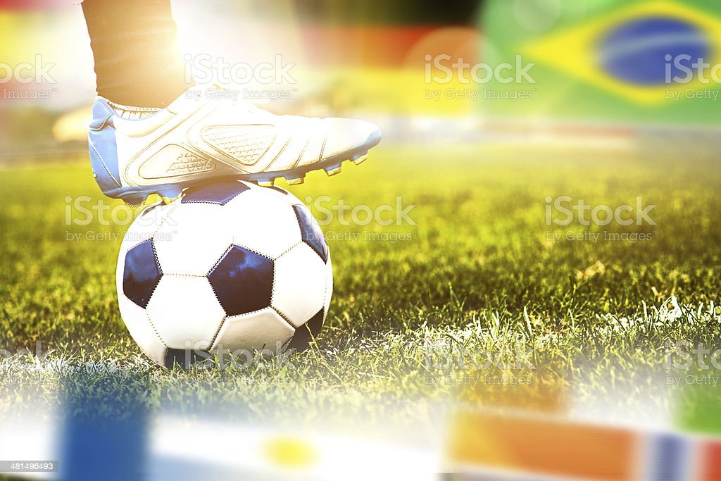 Close up of a soccer match kick-off royalty-free stock photo