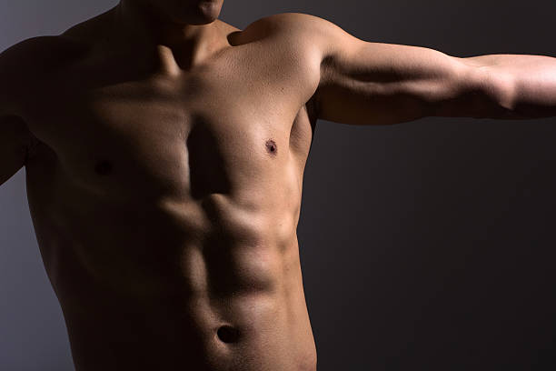 Close up of a sports man's chest stock photo