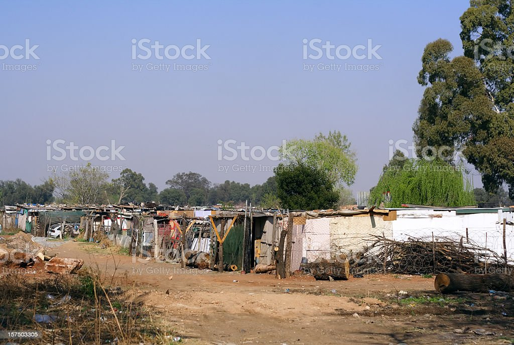 close up of a squatter camp near Soweto, South Africa stock photo