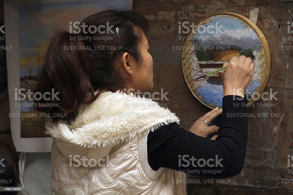 Close Up of a Street Artist in Yongding County, China royalty-free stock photo