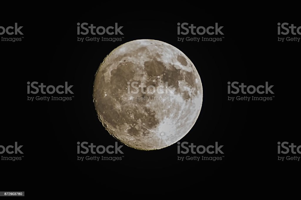 Close up of a super moon on black background stock photo