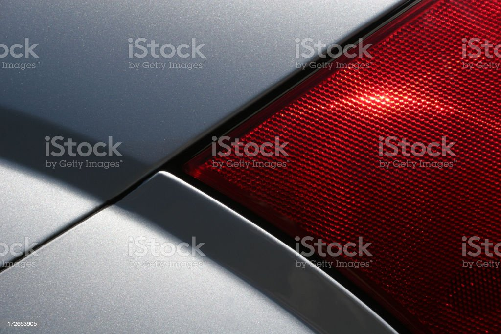 Close up of a tail light on a silver vehicle stock photo