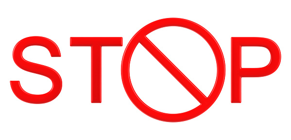 istock A close up of a text STOP with prohibition sign template, element for design. 3d rendering Illustration of stop sign isolated on white background. 1220065109