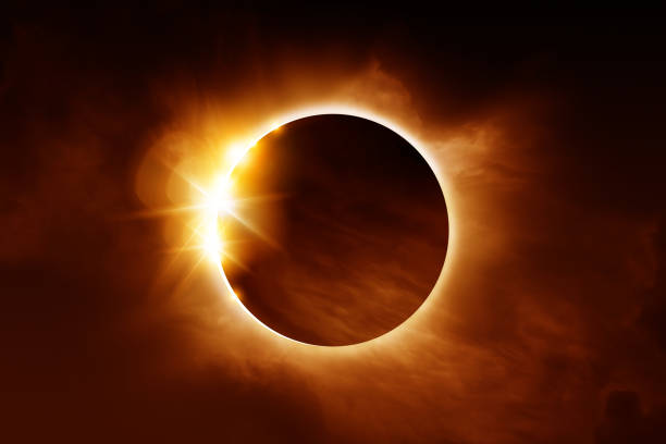 Close Up Of A Total Solar Eclipse stock photo