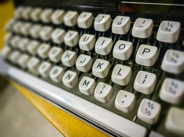 Close up of a traditional typewriter keys stock photo
