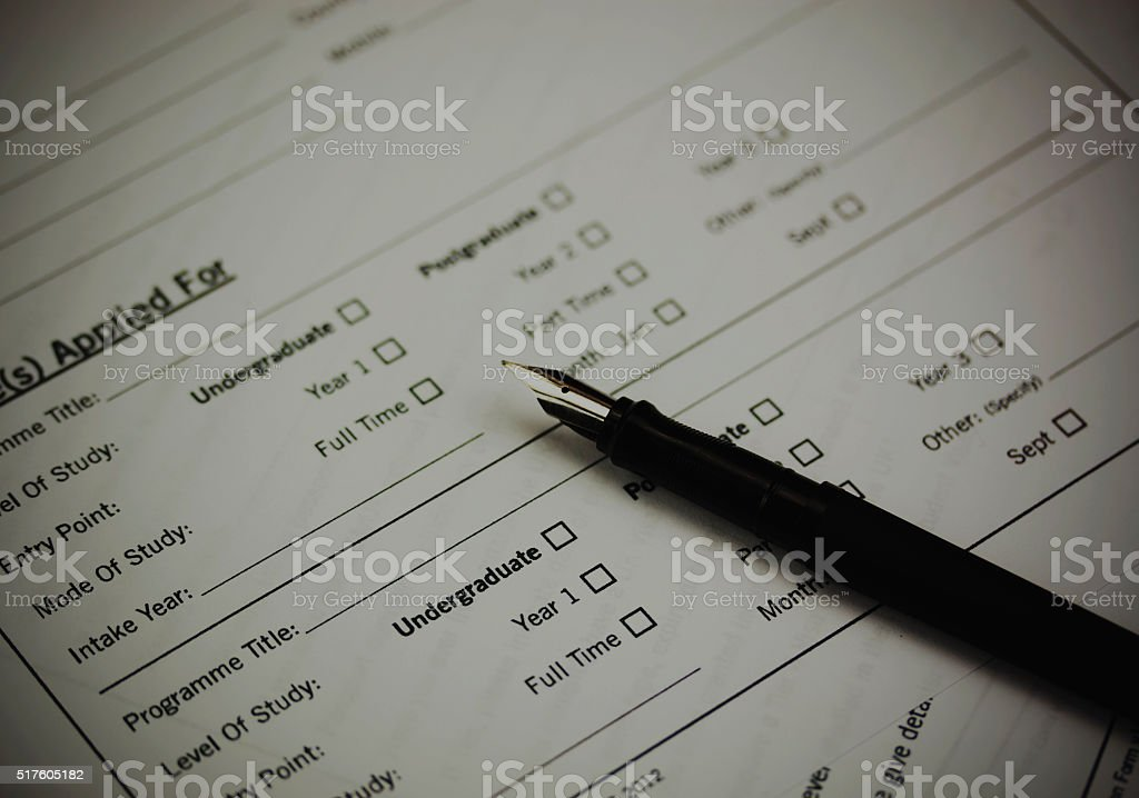 Close up of a university application form stock photo