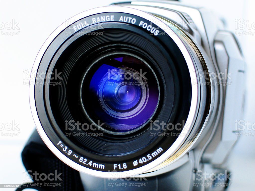 A close up of a video lens on a white background royalty-free stock photo