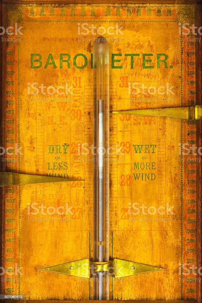 Close up of a vintage barometer stock photo