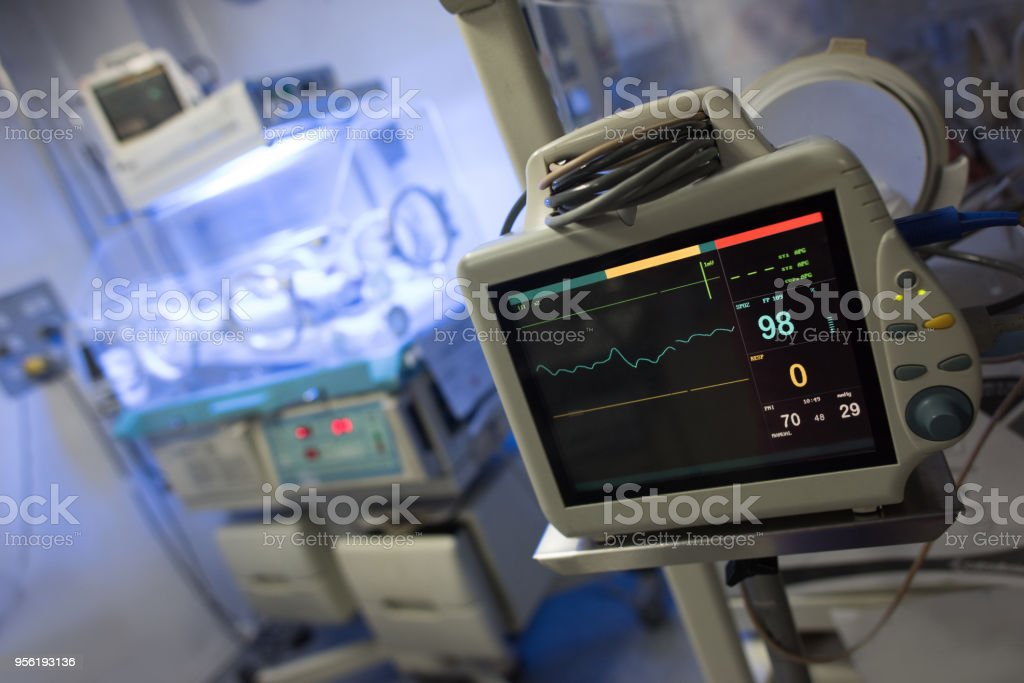 Close up of a vital signs monitor at the neonatal intensive care unit