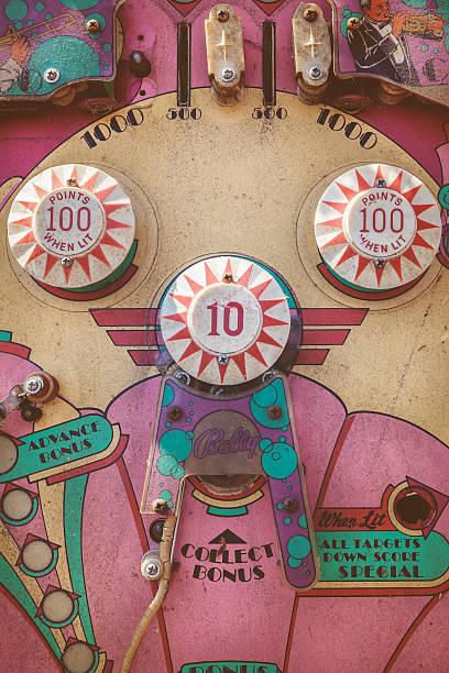 nahaufnahme eines eingetragenen vintage-flipperautomat - pinball spielen stock-fotos und bilder