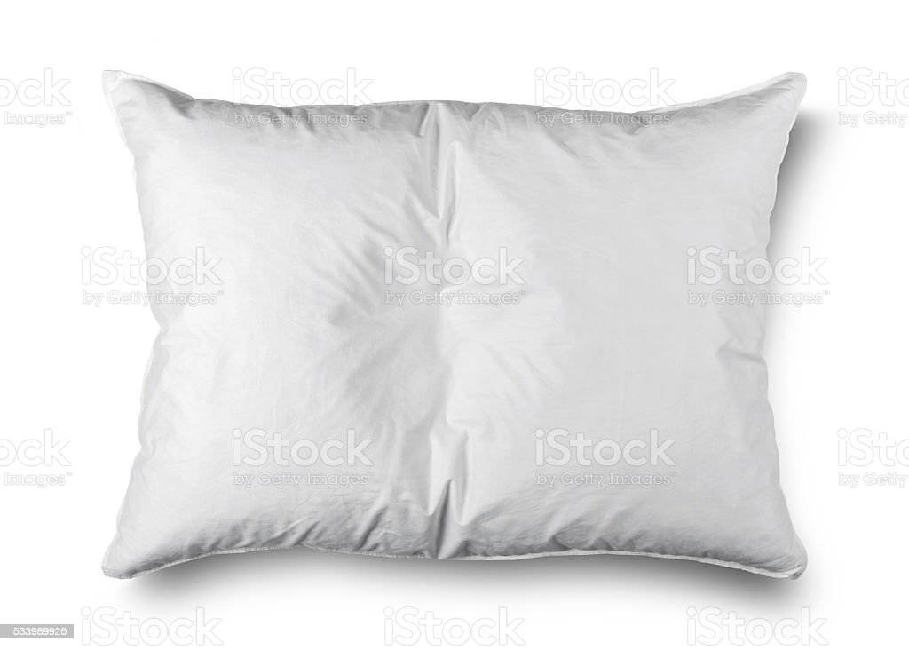 close up of a white pillow on white background stock photo