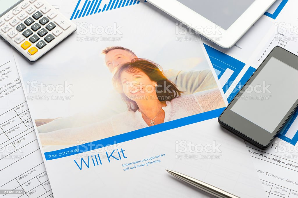 Close up of a will kit. stock photo