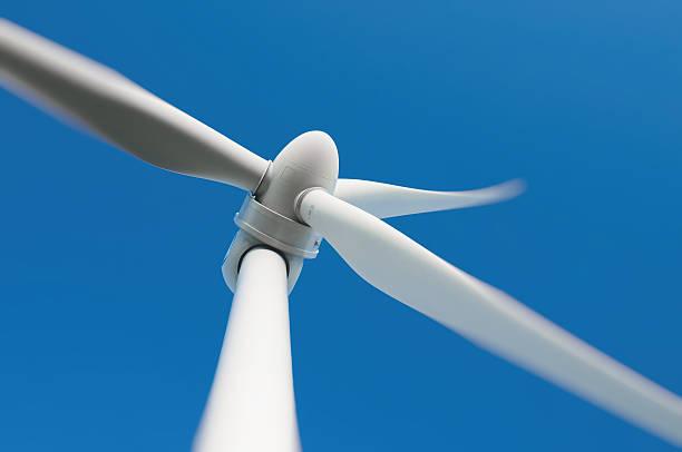 Close up of a wind turbine stock photo