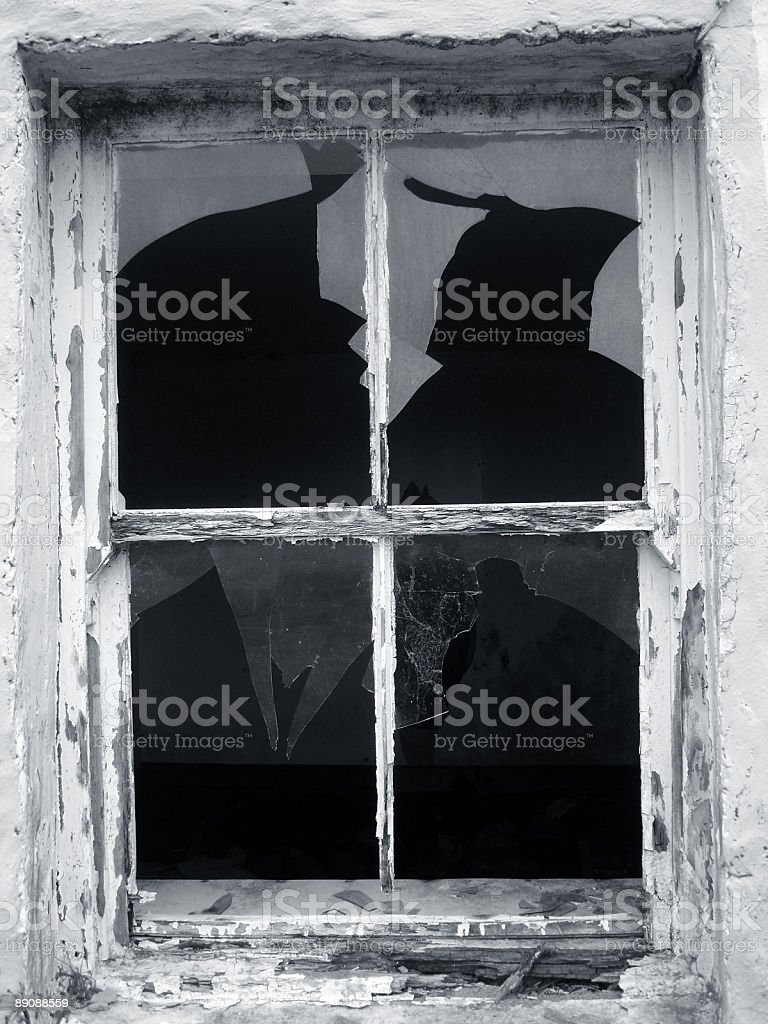 Close up of a withered old broken window frame royalty-free stock photo
