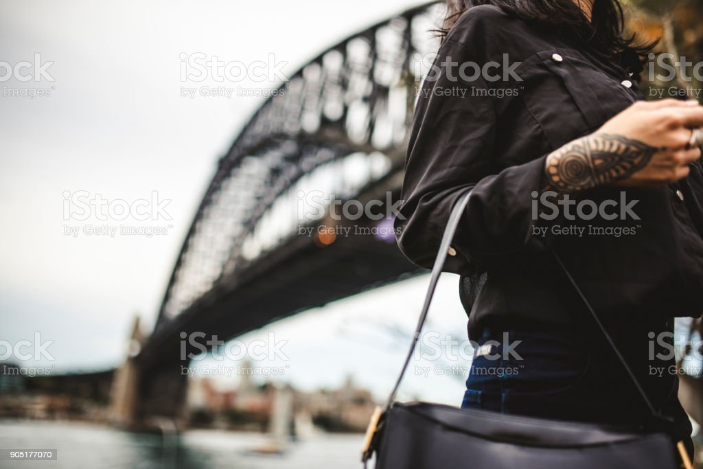 Close up of a woman with tattoo in Sydney stock photo