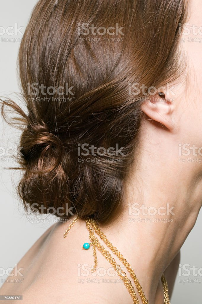 Close up of a womans hairstyle 免版稅 stock photo